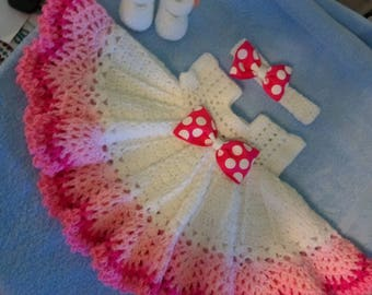 Crochet shades of pink baby dress outfit, perfect for Easter.