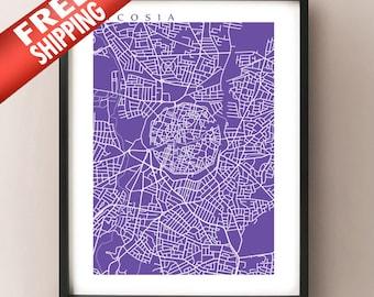 Nicosia, Cyrpus Map Art Print - Λευκωσία - Lefkoşa