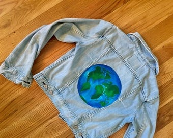 Travel the World Globe Denim Jacket