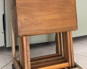 tv tray set. Vintage 5 Pc Solid Wood TV Tray Tables, Stand With Flip Top, Castors, Tv Set A