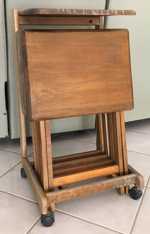 Vintage 5 Pc Solid Wood TV Tray Tables Stand With Flip Top