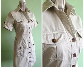 30% OFF Button Down Dress, Vintage Shirt Dress, Beige Dress, Safari Dress, Minimalist Dress, Short Sleeve Cotton Sarafan, Simple Military Dr