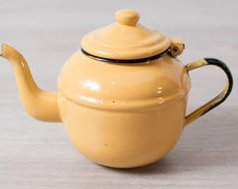 Enamel Yellow Teapot / Small Vintage Camping Enamelware / Made in Poland