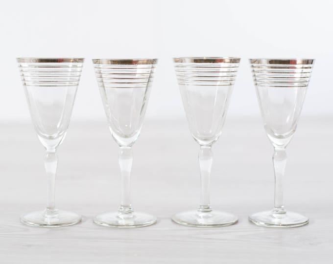 Antique Aperitif Glasses / Set of 4 Platinum Banded Flute Shaped Glasses / Silver Rim Stemware Glassware Barware Flapper Decor