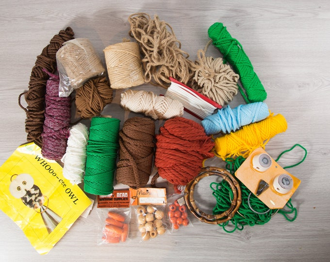Vintage Macrame Twine /Lot of Macrame Supplies including beads and Owl / Colorful Yarn