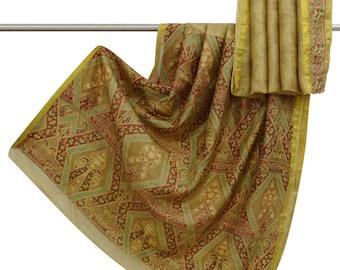 Vintage Indian 100% Pure Silk Saree Beige Floral Printed Sari Craft Fabric Used Saree Decorative Fabric 5 YD PS49447