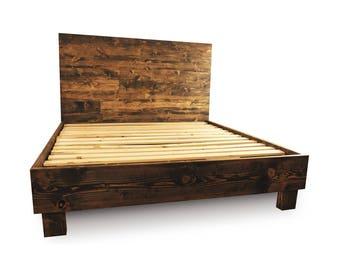 rustic solid wood platform bed frame headboard reclaimed wood style bedroom furniture reclaimed - Simple Wood Bed Frame