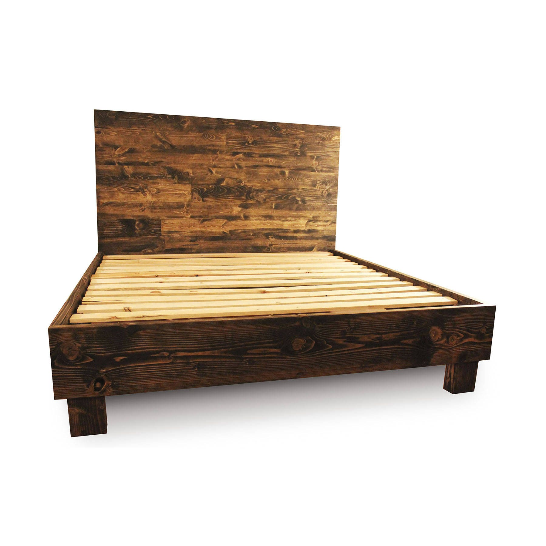 Recycled wood bed frames - Rustic Solid Wood Platform Bed Frame Headboard Reclaimed Wood Style Bedroom Furniture Reclaimed