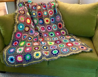 Happy, Colorful, Bright, Rainbow Soft Sunburst Flower Handmade Crocheted Granny Square Afghan Throw Blanket to Brighten Up Your Day