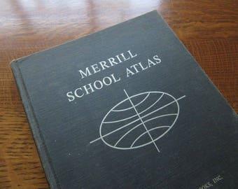 Vintage 1964 Merrill School Atlas,Maps,Geography,History,Cartology,World,Oversized Reference Book,Hardcover Vintage Atlas,Ephemera,Color Map