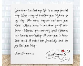 Everlasting Friendship Poem Plaque. Birthday Christmas