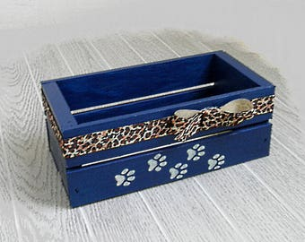 Attractive Medium Dog Toy Box Handpainted Pet Storage Box Blue Box Dog Owner Gift