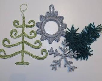 Tutoriel: décoration de Noel crochetée, déco Noel, sapin de Noel au crochet, arbre de Noel, couronne de Noel, flocon de neige, cadre crochet