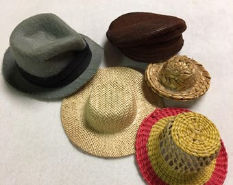 Quantity of 5 doll hats of Various Sizes