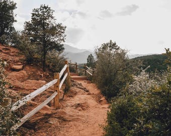 Garden of the Gods - Colorado Springs, Colorado Landscape Photography - Moutains Hiking Trail Red Rocks Travel Fine Art Print