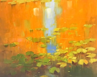 Waterlilies in Fall, oil Painting, Original hand made artwork, Impressionism, One of a kind