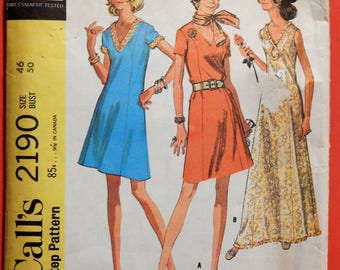 McCall's 2190 Easy to sew vintage dress pattern Size 46