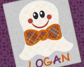 Personalized Halloween Boy with Bowtie or Girly Ghost with Bow or Witch Hat Applique Shirt or Onesie for Boy or Girl
