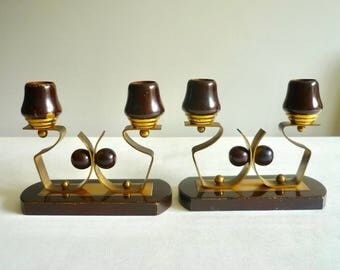 Pair of Art Deco wood and brass candle holders, Art Deco candle stick holders