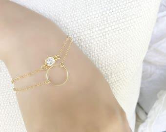 Personalized wrap bracelet layered cubic zirconia eternity ring bracelet 14k gold filled circle bracelet cz jewelry karma April Birthstone