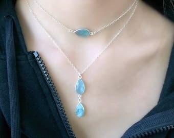 Layered Aqua Necklace Aqua Layering Necklace Blue Quartz Necklace Aqua Jewelry3 Aqua Gemstones 925 sterling silver beach jewelry bridesmaids