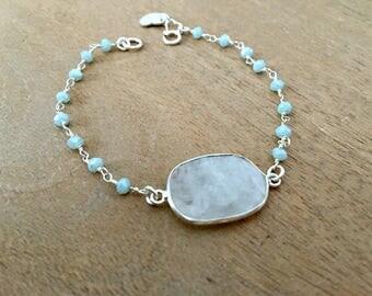 rainbow moonstone bracelet personalized monogram initial heart tag monogram bracelet amazonite chain moonstone jewelry heart jewelry silver