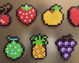 Pac-Man Perler Bead Sprites | Pac-Man Fruit Magnets