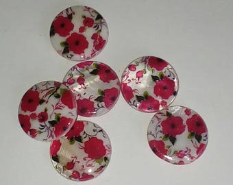 Decorated with flowers 20mm X 3 mother of Pearl disc beads
