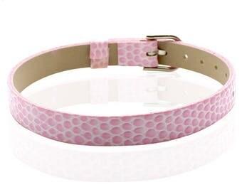 Pink leatherette bracelet 22cm