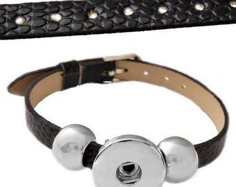 Faux black leather snap bracelet