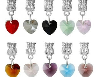 X 1 pendant, Crystal heart charm and the bail