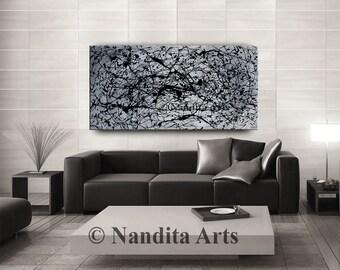 ORIGINAL MODERN PAINTINGS, Modern art, original fine art, red canvas art, huge abstract art, canvas art, wall art by Nandita Arts