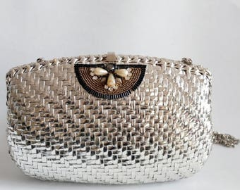 on sale Vintage minaudière, silver clutch , Rodo, made in Italy