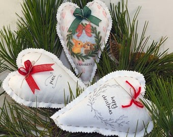3 Customizable Christmas decorations-Heart 12 x 18 cm