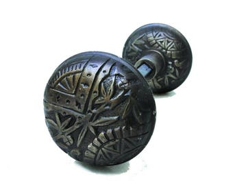 Vintage Brass Leaf Victorian Arts and Crafts Style Door Knob Pair AGED DARKENED