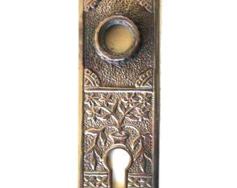 Oriental Urn Brass Door Plate with Floral Aged Bronze