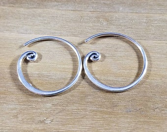 Handmade in Bali,Small Sterling Silver Curled Hoop Earring Finding,Silver Hoop Earring,Bali Silver Curled Earring Hoop, Silver Hoop Earrings
