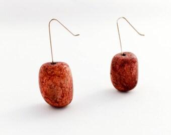 Earthy Stone Bead Earrings, Minimalist Earrings