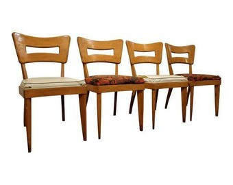 Set of 4 Mid-Century Dining Chairs Danish Modern Heywood Wakefield Dogbone Side/Dining Chairs