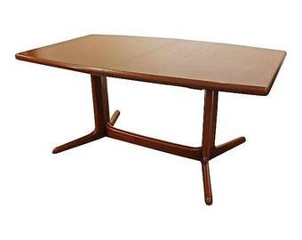 Mid-Century Dining Table Danish Modern Teak Extension Surfboard Dining Table