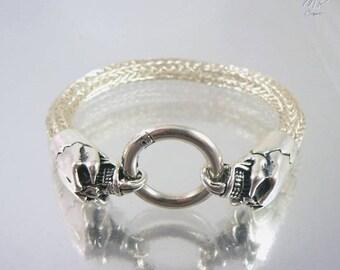 Bracelet Torque Skull - bracelet viking en cuivre et têtes de mort