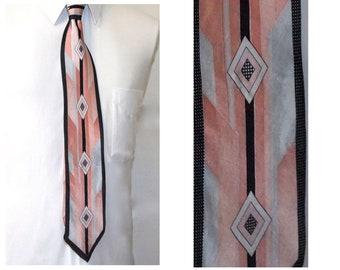 Art Deco Style Silk Tie, Vintage Hand Made Pink and Black Bruno Rossi Designer Necktie,  152 cm x 10 cm, Unusual Mens Accessories
