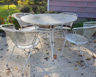 Vintage Mid Century Modern Salterini Wrought Iron Mesh Patio Dining Set  Barrel Back Chairs Table Chippy