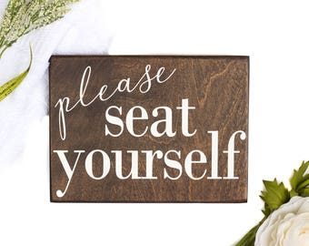 please seat yourself sign, funny bathroom signs, please seat yourself bathroom funny decor, rustic bathroom signs, funny bathroom art, wood