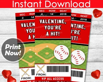 Baseball Valentines Day Cards, INSTANT DOWNLOAD Baseball Valentine Cards, Printable Sports Valentines, Kids Classroom Boy Valentine DIY