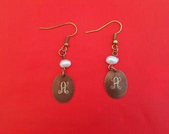 Engraved initial Ear Rings