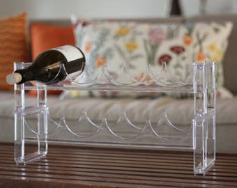 Vintage Clear Acrylic Wine Rack /  Stackable Lucite Wine Rack / Modernist Wine Rack / Mod Wine Storage / Minimalist Wine Rack / Lucite Wine