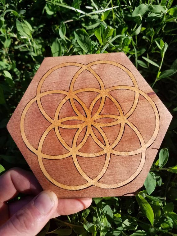 Seed of Life Reclaimed Wood Crystal Grid - Red Alder in Pacific Madrone - Northern California Native Woods