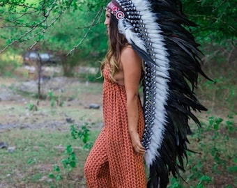 25% OFF SALE The Original - Real Feather Black Chief Indian Headdress Replica 135cm, Native American Style Costume Hand Made War Bonnet Hat