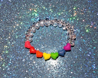 Kandy Stretch Bracelet ~ Cute Clear Hearts with Rainbow Hearts Sequence